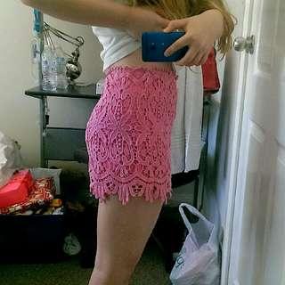 Pink Lace Mini Skirt Australian Size 10