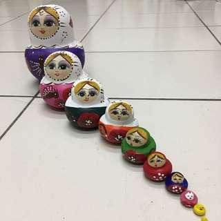 🚚 國外帶回 木製俄羅斯彩繪娃娃 收藏品 擺設