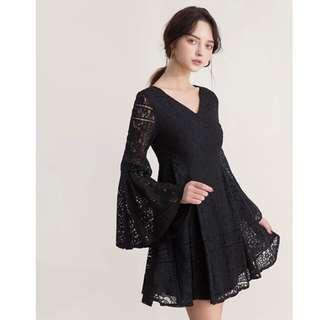 台灣牌子air space黑色蕾絲連身裙