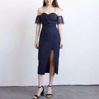 Lace Off-Shoulder Sleeve & Slit Dress