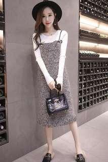 Mono-coloured Tassel Fringe Designed Korean Style Overall Dress