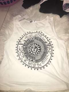 White tank top with graphic design