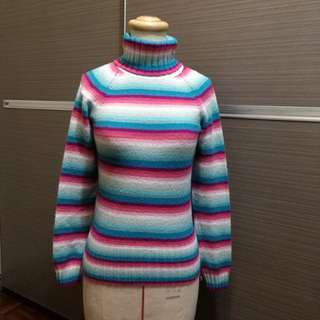 GAP 粉彩條紋高領毛衣
