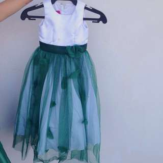 Green and white flower girl gown