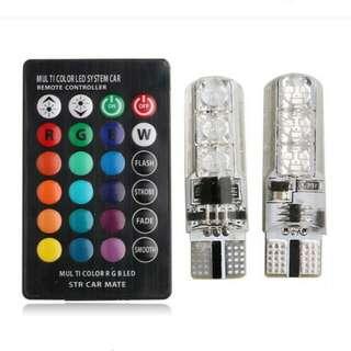 T10 led remote flash rgb bulb