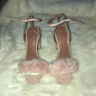 Topshop Maison Faux Fur Block Heel Sandals