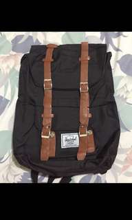 BLACK TAN HERSCHEL BAG