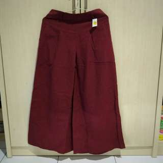 A Line Trousers - Red Maroon