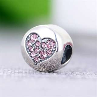 Code MS270 - Love Heart Pink Cz Luck Word On One Side 100% 925 Sterling Silver Charm, Chain Is Not Included, Compatible With Pandora