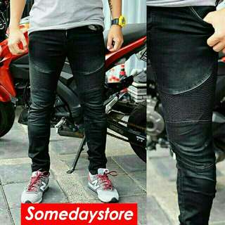 Jeans Biker Skinny Black Wash Skinny Soft Jeans Stretch Fashion Pria