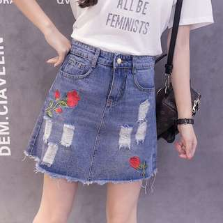 Denim Blue Coloured Rose Embroidery Ripped Pockets Skirt