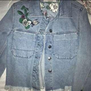 H&M flower denim jacket