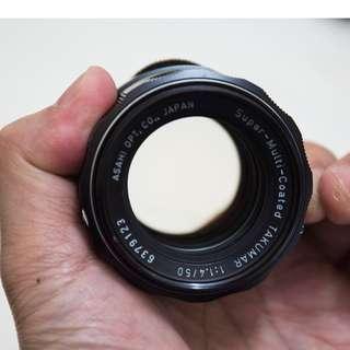 ASAHI PENTAX SUPER MULTI COATED TAKUMAR 50MM 1.4 - very good condition (Collectors Item grade)