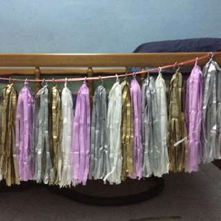 Crepe Paper Cream Lilac, Metallic Gold Silver Tassel Party Decor Garland Fringe Banner