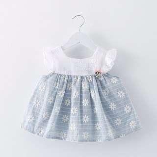 🐰Instock -  baby blue floral dress, baby infant toddler girl children glad cute 123456789