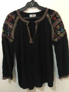 Black embroidered Hobo Top