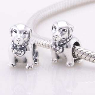 (OUT OF STOCK) Code SS30 - Dog Sitting 100% 925 Sterling Silver Charm, Chain Is Not Included, Compatible With Pandora