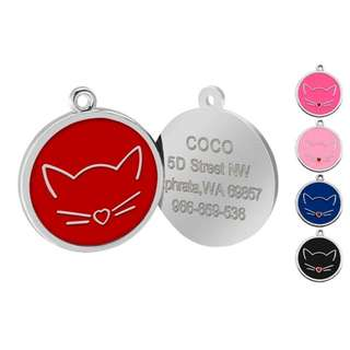 Pet Cat Id Tag For Collars With Engraving Plus Free Gift