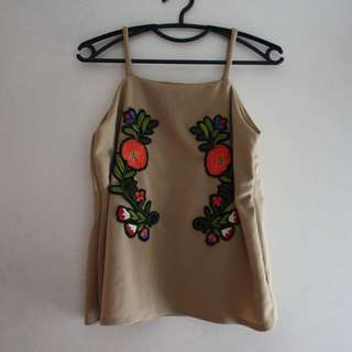 Brown Sleeveless with Rose Patches