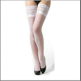 White Sheer Mesh Stockings Knee Length