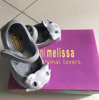 Mini Melissa cat glitter shoes USA 5 like new