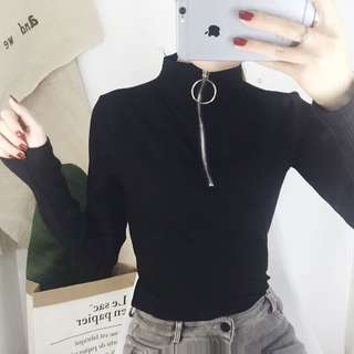 PO | Zip Up Turtleneck Long a Sleeve Fitted Top