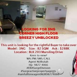 3NG at Blk 203 Marsiling Drive For Sale