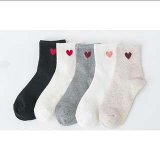 ♡純色小愛心襪子/韓國卡通泡泡先生純色笑臉襪子