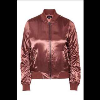 TOPSHOP Satin Rust Bomber Jacket
