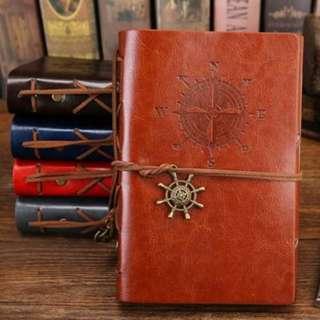 Buku Catatan Binder Kulit Retro Compass Kertas A5