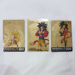 Hondan Dragonball GT Carddass Dragon Ball Gold Cards No. 100, 127 and 200