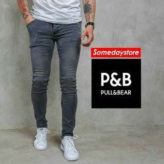 Jeans Pull and Bear Grey Wash Skinny Soft Jeans Stretch Fashion Pria Celana Panjang Cowok Keren