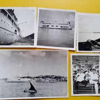 5 PHOTOS LOT - MALAYA STRAITS SETTLEMENTS - Penang Ferry Photo - vintage b/w Black & White