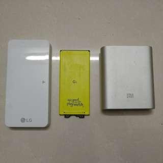LG G 5叉電盒跟電池及小米尿袋