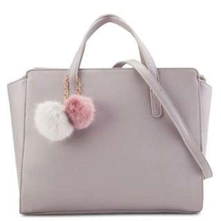Velvet Safianno Pom Pom Tote Bag