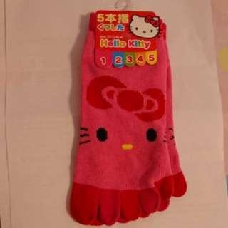 Hello kitty socks 五指襪 22-24cm red