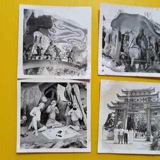 4 PHOTOS LOT - SINGAPORE TIGER BALM GARDEN Photo - vintage b/w Black & White