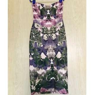ASOS Flowery Printed Bustier Dress