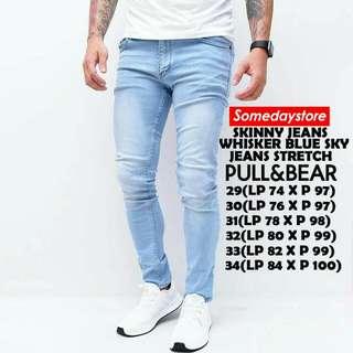 Celana Pull and Bear Skinny Soft Jeans Stretch Fashion Pria Blue Sky Wishker Celana Panjang Cowok