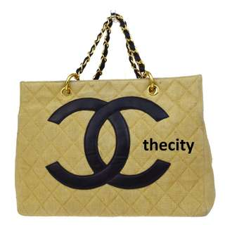 AUTHENTIC CHANEL GST (GRAND SHOPPING TOTE) IN CANVAS FABRIC (VINTAGE)