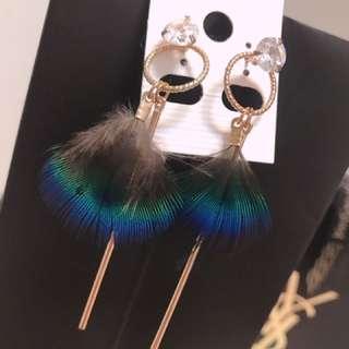 孔雀羽耳環