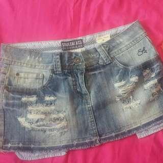 Denim Tattered Mini Skirt
