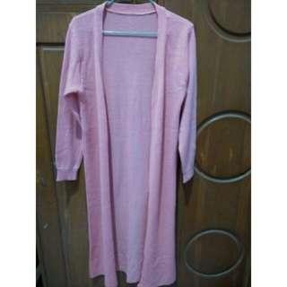 Cardigan panjang pink