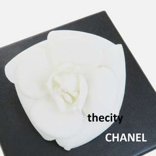 AUTHENTIC CHANEL Camellia Flower Pin / Brooch / Corsage , in Fabric Canvas