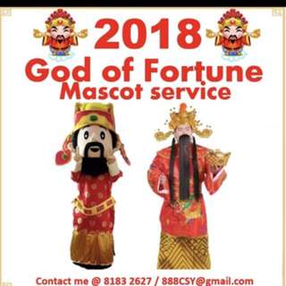 Huat Huat Huat and Prosperity Cai Shen Ye Mascot with Talent/Traditional GOF available for booking 2018