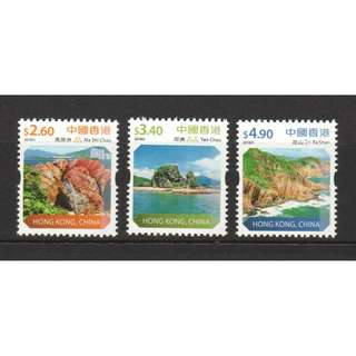 HONG KONG CHINA 2018 LANDSCAPE GLOBAL GEOPARK NEW SCENIC DEF. COMP. SET OF 3 STAMPS IN MINT MNH UNUSED CONDITION