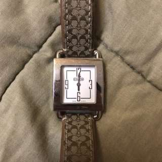 Coach leather strap watch
