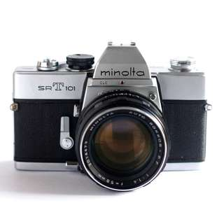 Minolta srT 101 (35mm film camera) with Auto Rokkor PF 1:1.4 58mm lens and quick release leather strap