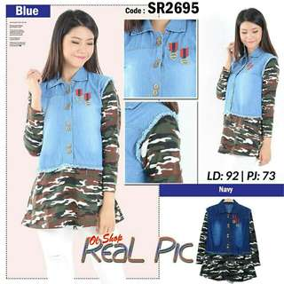 LS-BLOUSE JEANS ARMY 2695