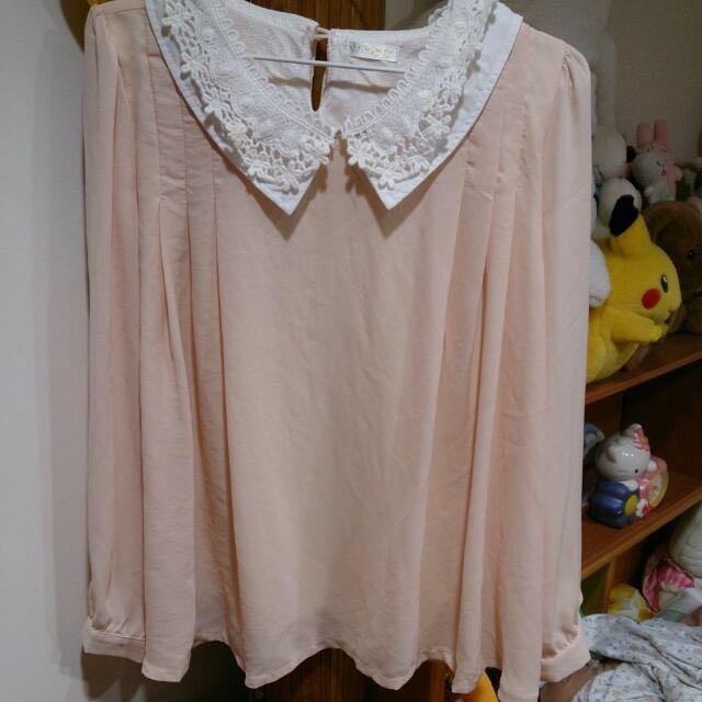 含運#全新正韓淺粉色雪紡衫
